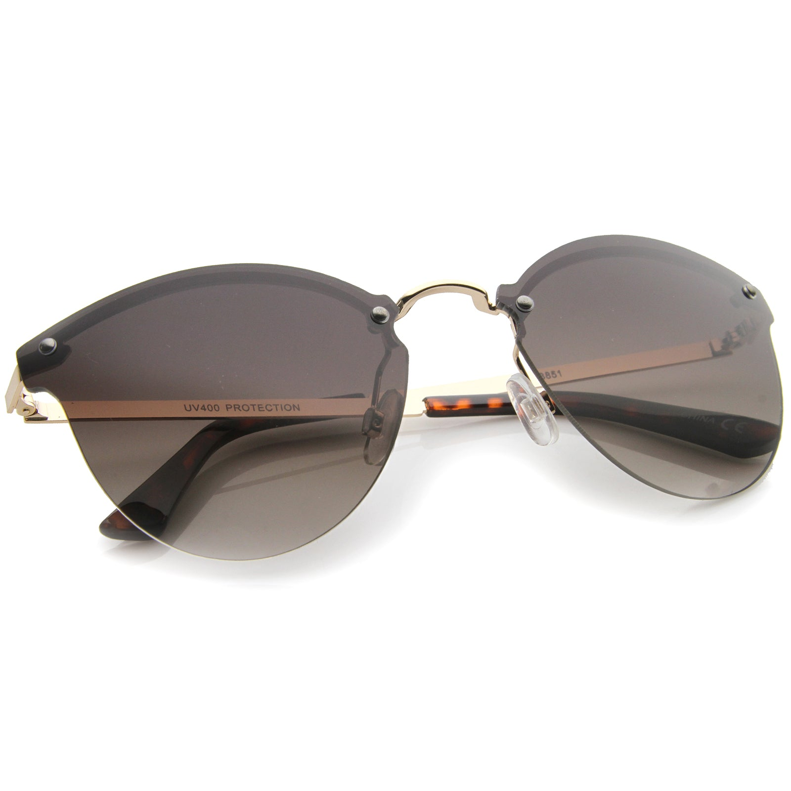Womens Fashion Lightweight Rimless Metal Temple Cat Eye Sunglasses - sunglass.la - 12