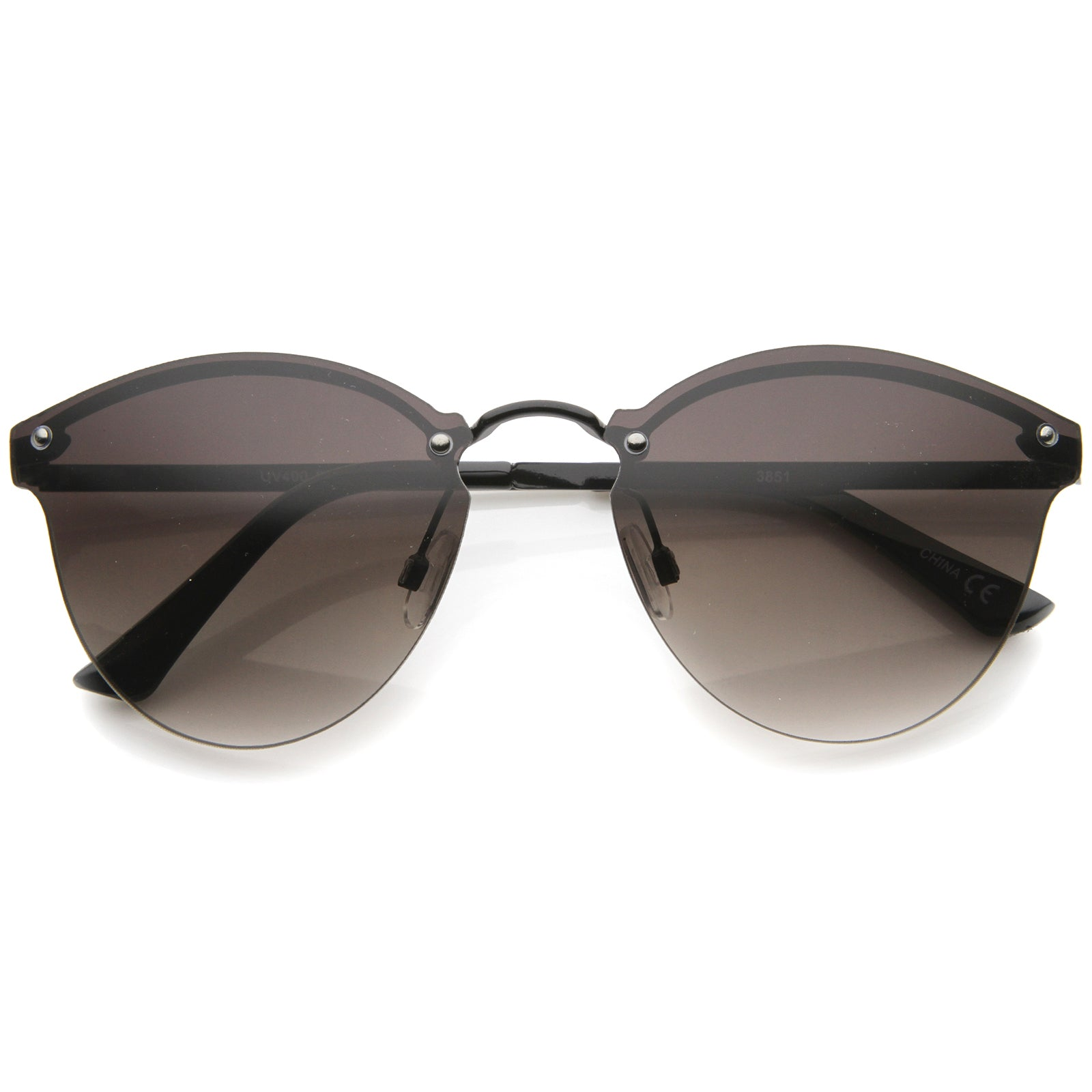 Womens Fashion Lightweight Rimless Metal Temple Cat Eye Sunglasses - sunglass.la - 13