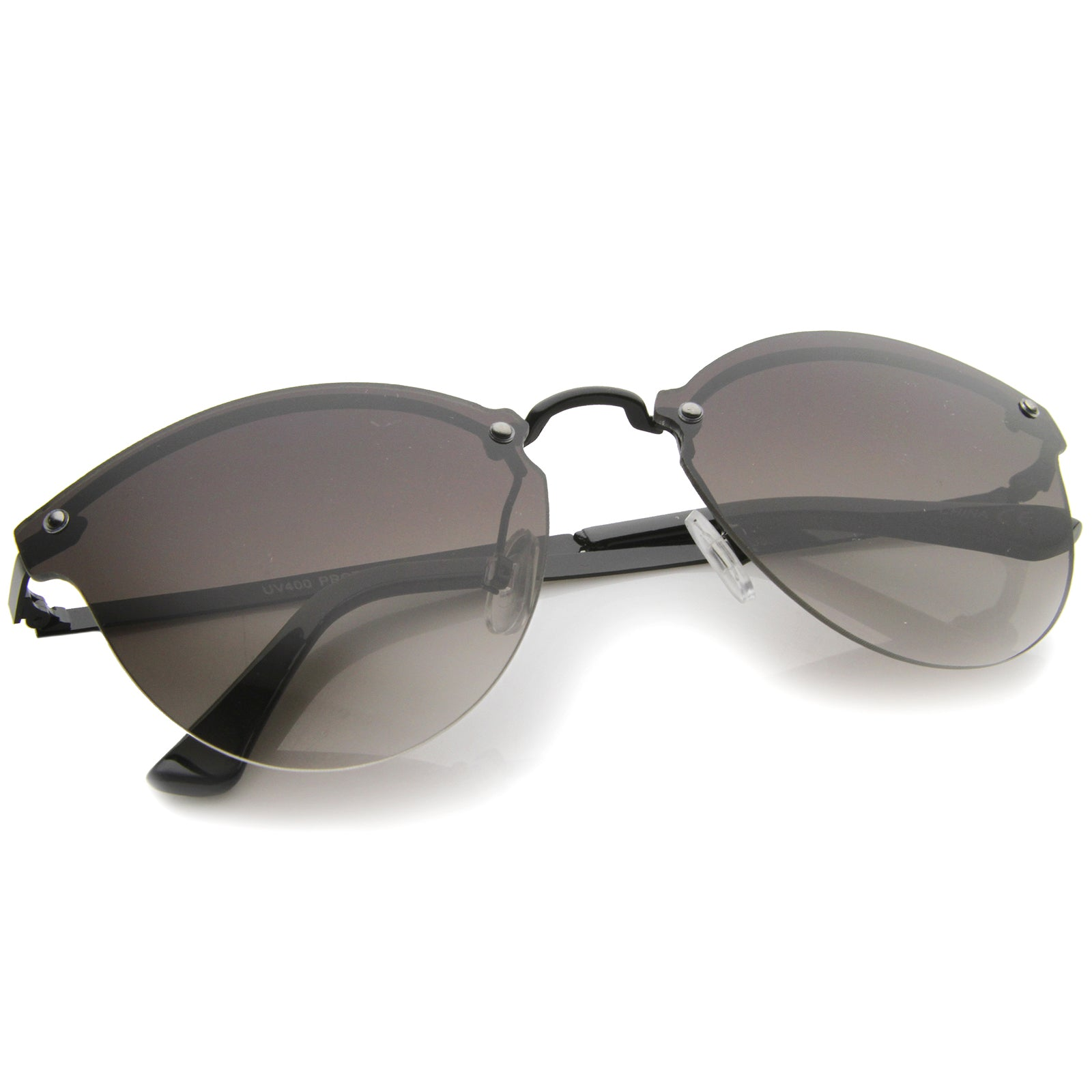 Womens Fashion Lightweight Rimless Metal Temple Cat Eye Sunglasses - sunglass.la - 16