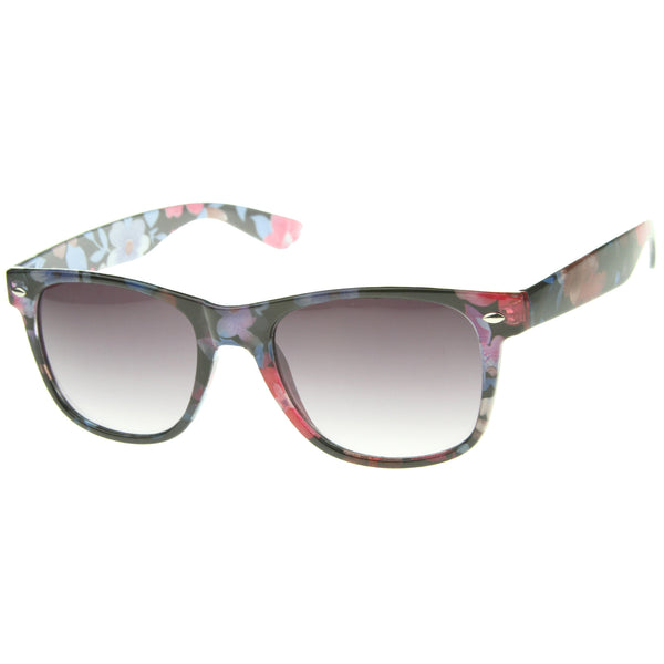 Classic Casual Colorful Floral Print Flower Pattern Horn Rimmed Sunglasses 54mm - sunglass.la