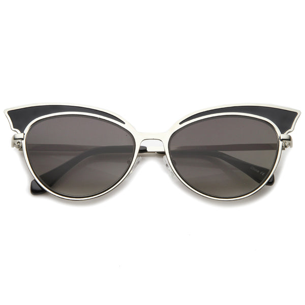 Womens Fashion Two-Tone Oversized Metal Cat Eye Sunglasses 57mm - sunglass.la - 1