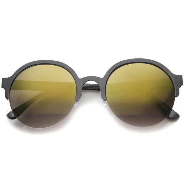 Modern Metal Half-Frame Color Mirrored Lens Round Sunglasses 55mm - sunglass.la - 1