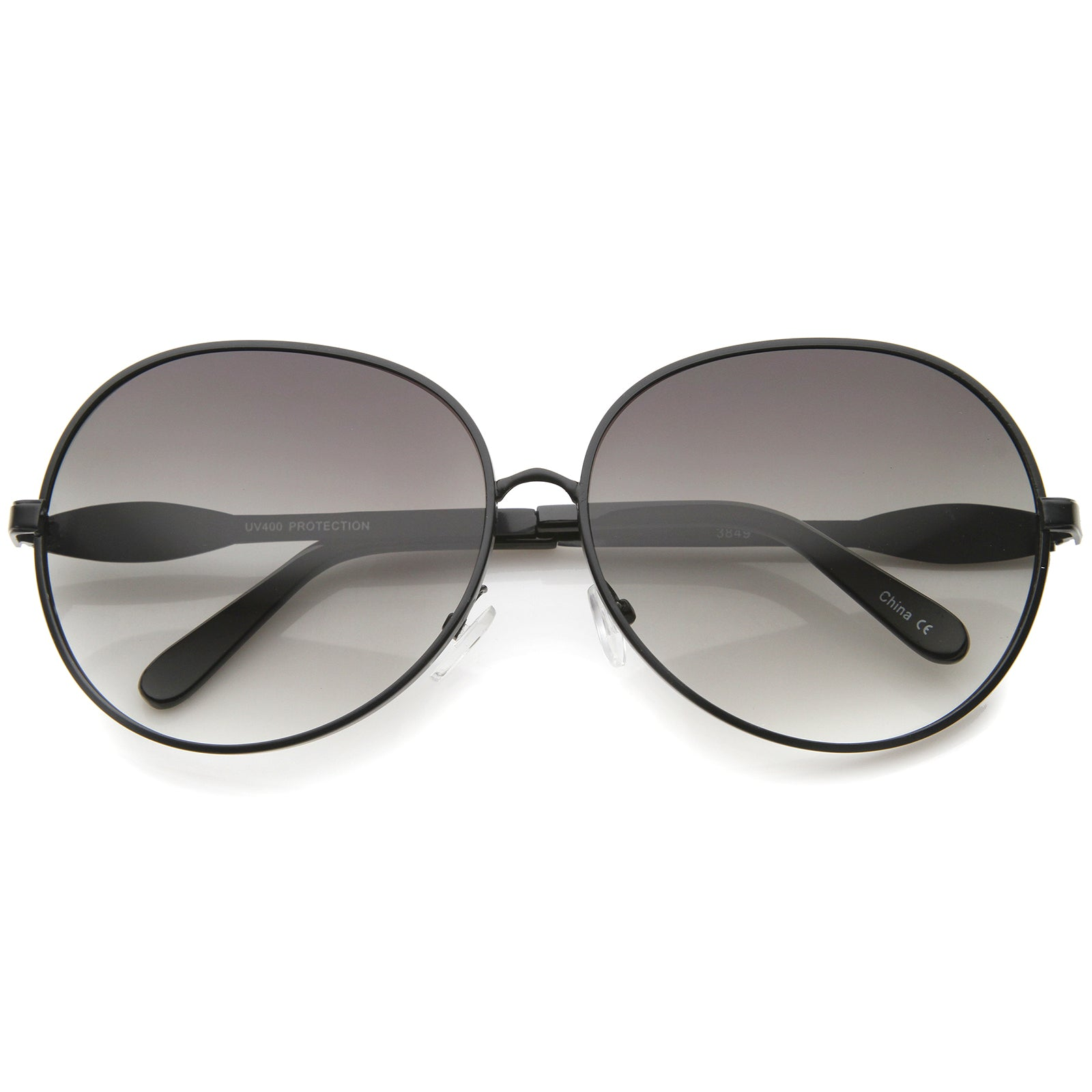 Womens Glam Full Metal Frame Oversized Round Sunglasses 63mm - sunglass.la - 1