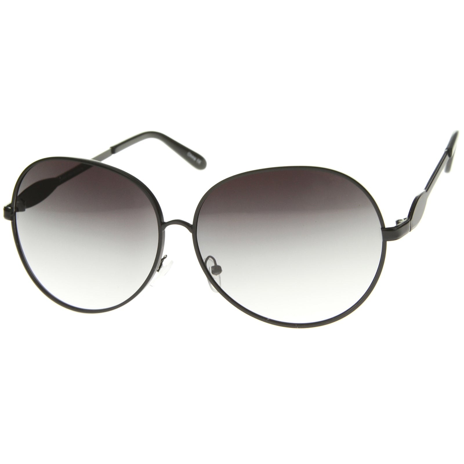 Womens Glam Full Metal Frame Oversized Round Sunglasses 63mm - sunglass.la - 2