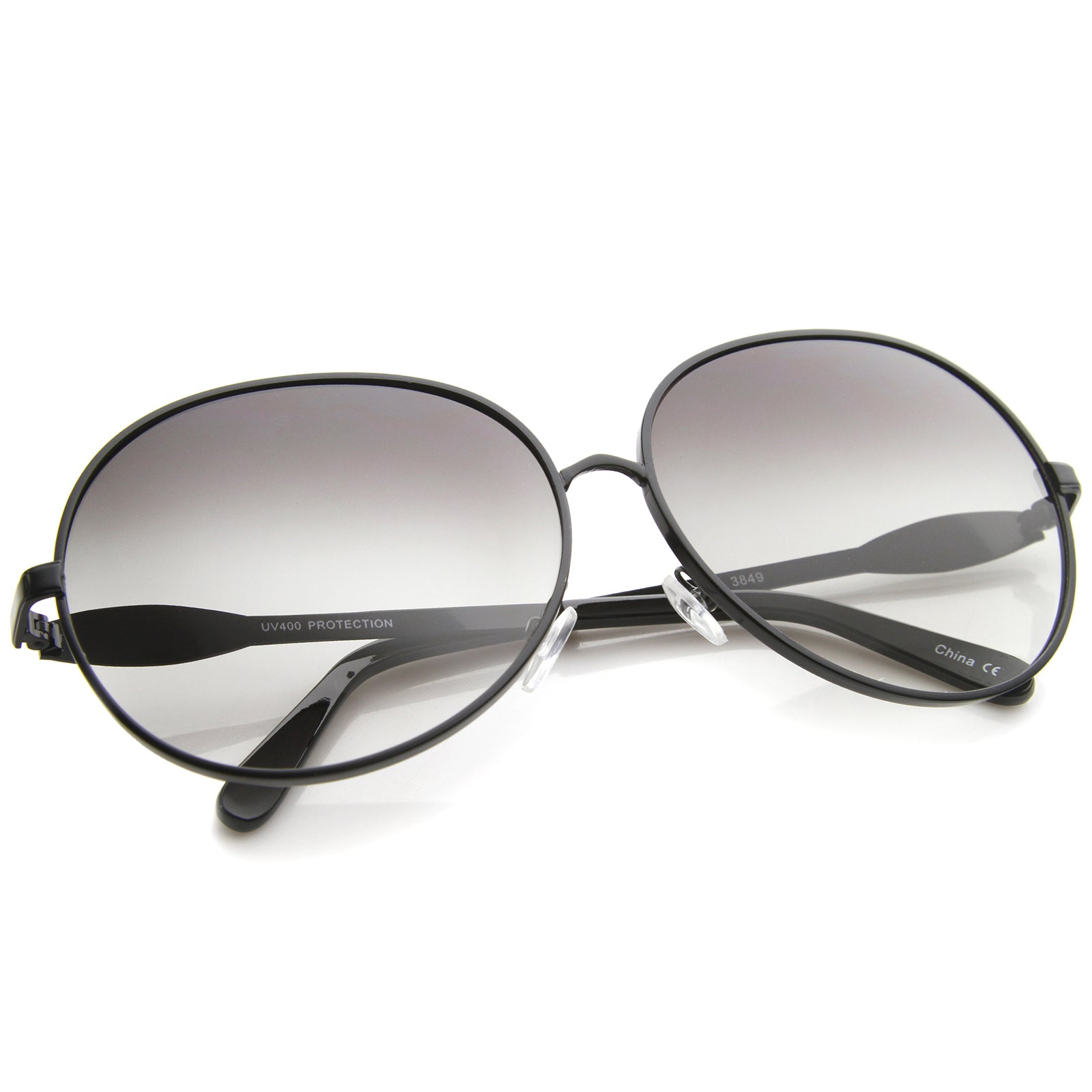 Womens Glam Full Metal Frame Oversized Round Sunglasses 63mm - sunglass.la - 4