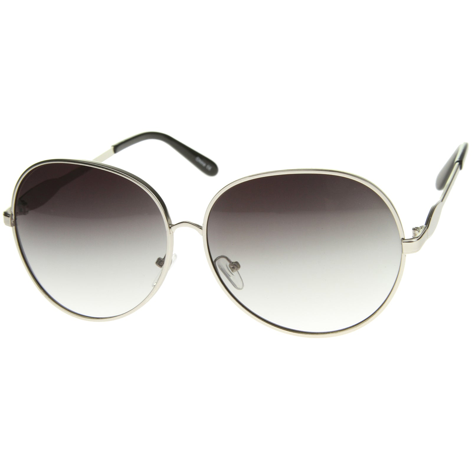 Womens Glam Full Metal Frame Oversized Round Sunglasses 63mm - sunglass.la - 6