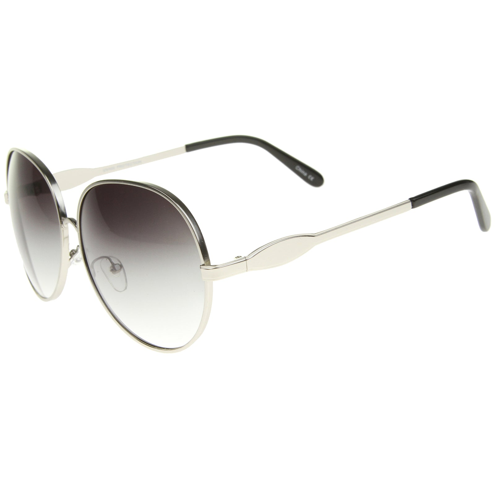 Womens Glam Full Metal Frame Oversized Round Sunglasses 63mm - sunglass.la - 7