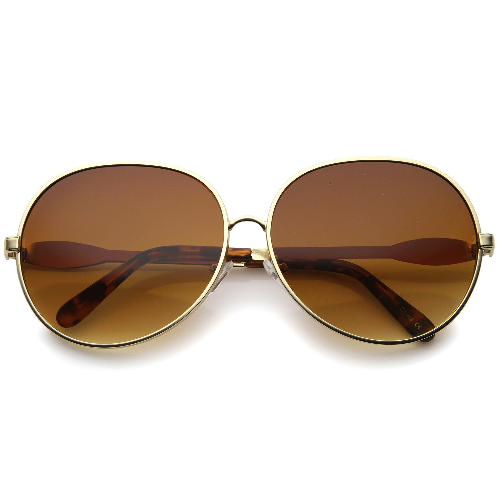 Womens Glam Full Metal Frame Oversized Round Sunglasses 63mm - sunglass.la - 9