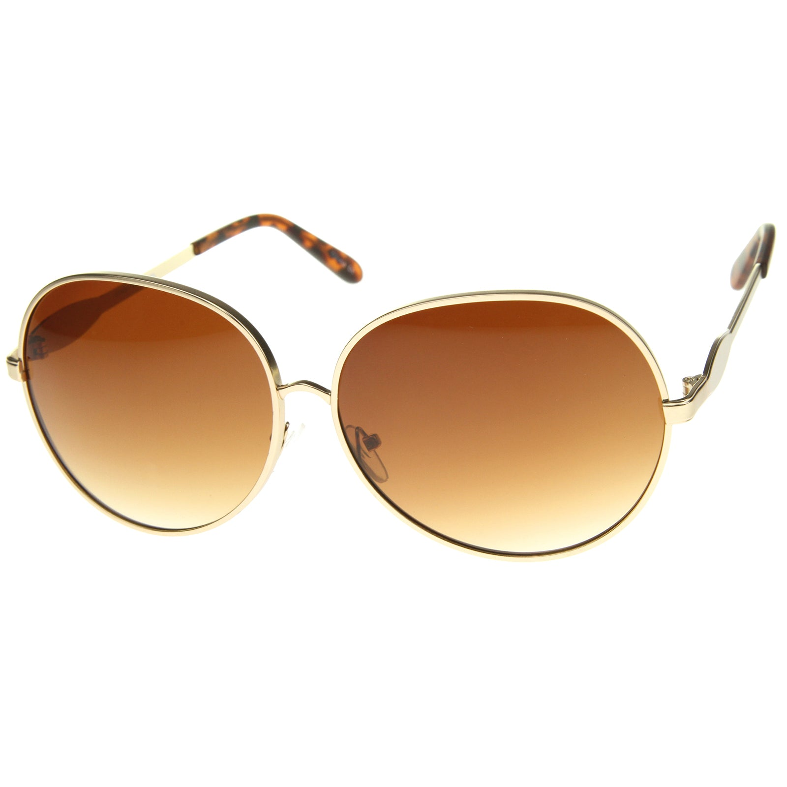 Womens Glam Full Metal Frame Oversized Round Sunglasses 63mm - sunglass.la - 10