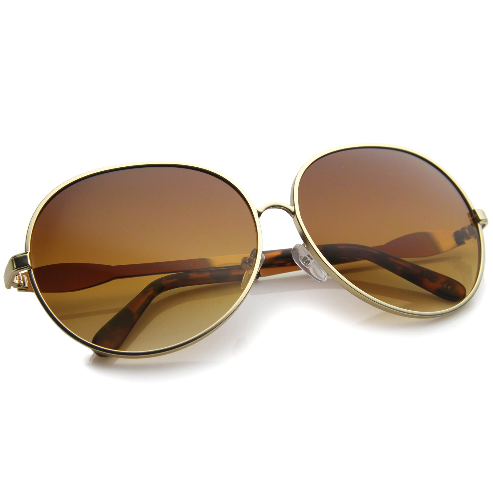 Womens Glam Full Metal Frame Oversized Round Sunglasses 63mm - sunglass.la - 12