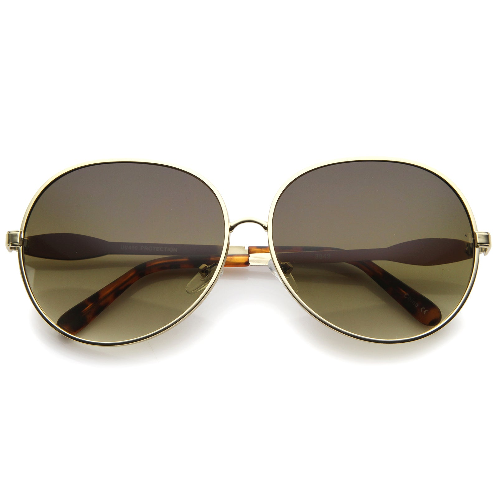 Womens Glam Full Metal Frame Oversized Round Sunglasses 63mm - sunglass.la - 13