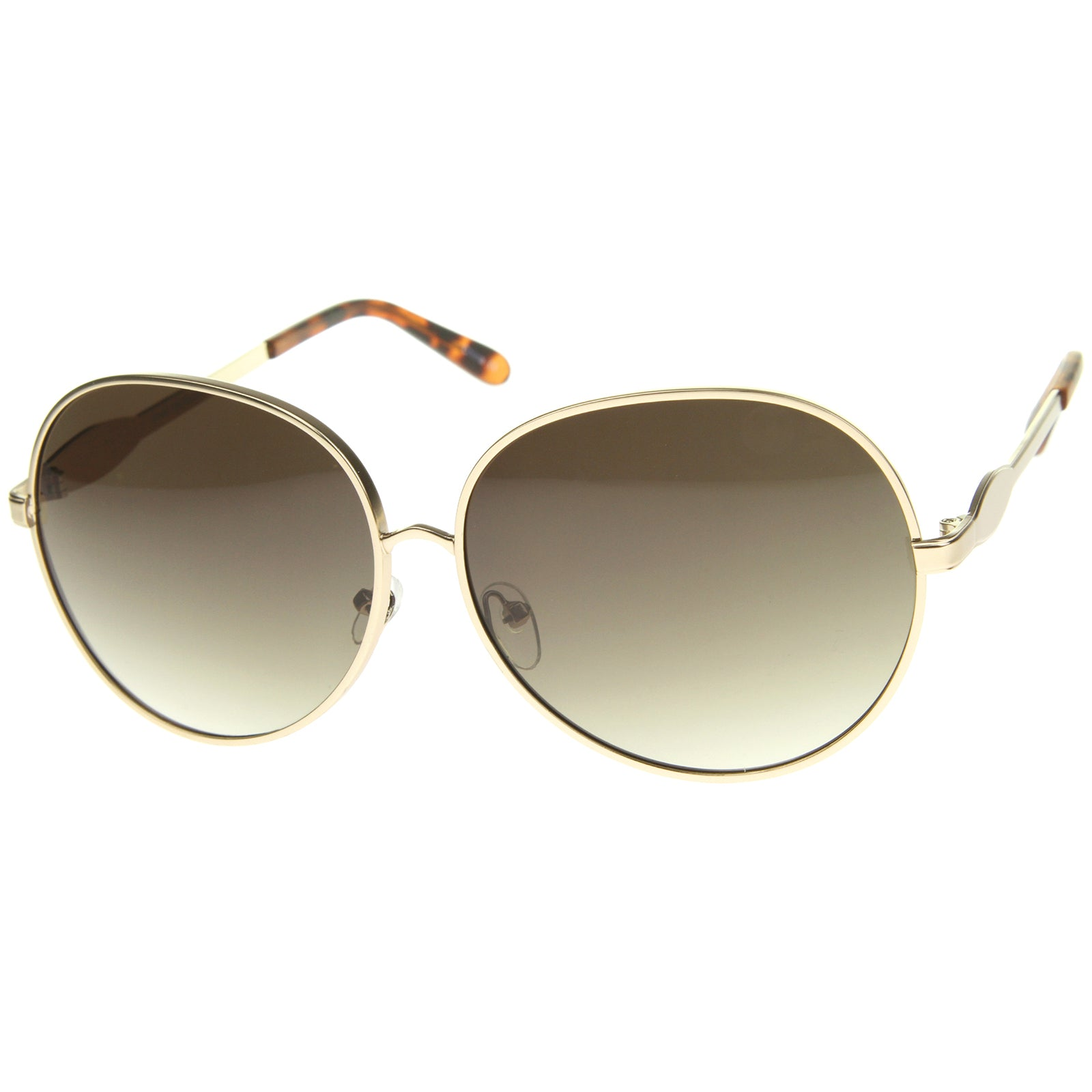 Womens Glam Full Metal Frame Oversized Round Sunglasses 63mm - sunglass.la - 14