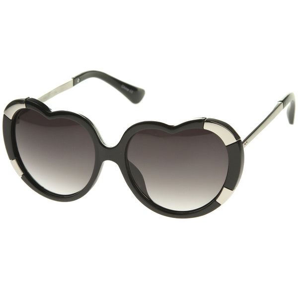 Womens Fashion Oversize Metal Detail Heart Shaped Sunglasses 57mm - sunglass.la - 1
