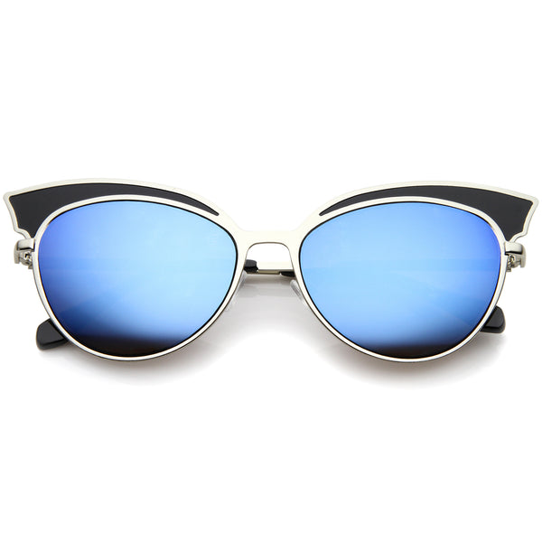 Womens Two-Tone Oversized Metal Mirrored Cat Eye Sunglasses 57mm - sunglass.la - 1