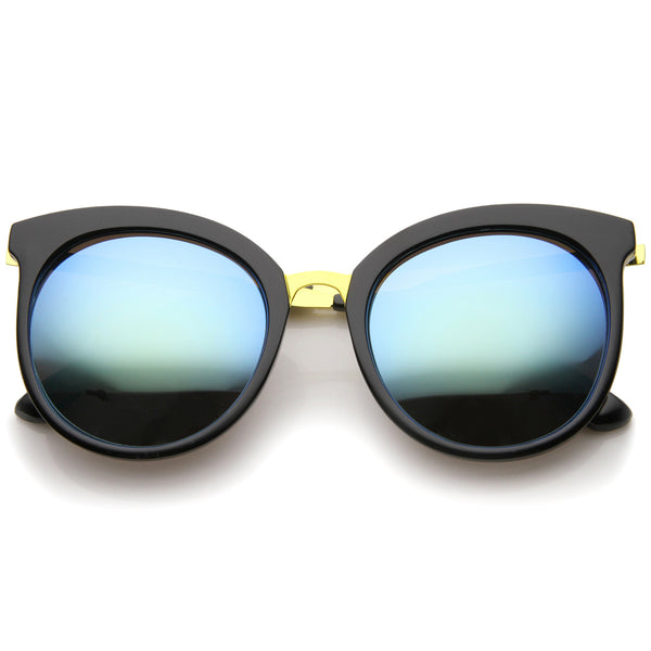 Womens Fashion Oversized  Mirrored Lens Round Cat Eye Sunglasses 56mm - sunglass.la - 1