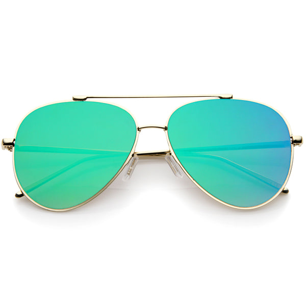 Rimless Teardrop Color Mirrored Flat Lens Wire Frame Aviator Sunglasses 58mm - sunglass.la - 1