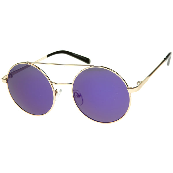 Lennon Full Metal Double Bridge iridescent Mirrored Lens Round Sunglasses - sunglass.la - 1