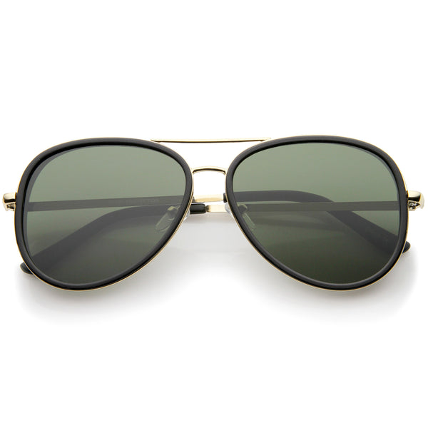 Retro Fashion Side Cover Flat Lens Two-Tone Metal Aviator Sunglasses 53mm - sunglass.la - 1