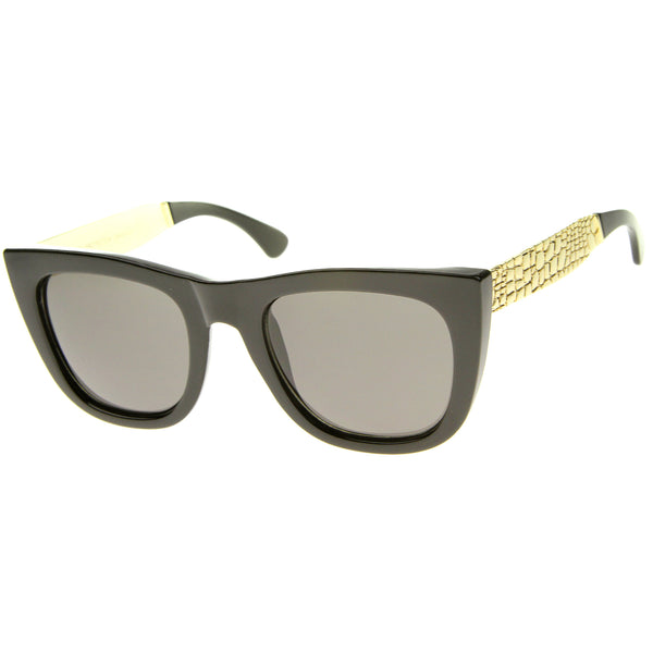 High Fashion Alligator Metal Temple Bold Rimmed Flat Top Sunglasses - sunglass.la