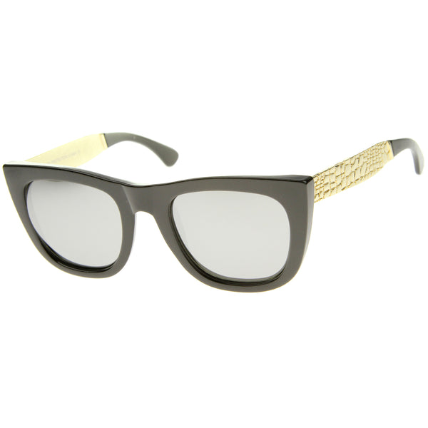 High Fashion Alligator Metal Temple Mirrored Lens Flat Top Sunglasses - sunglass.la - 1