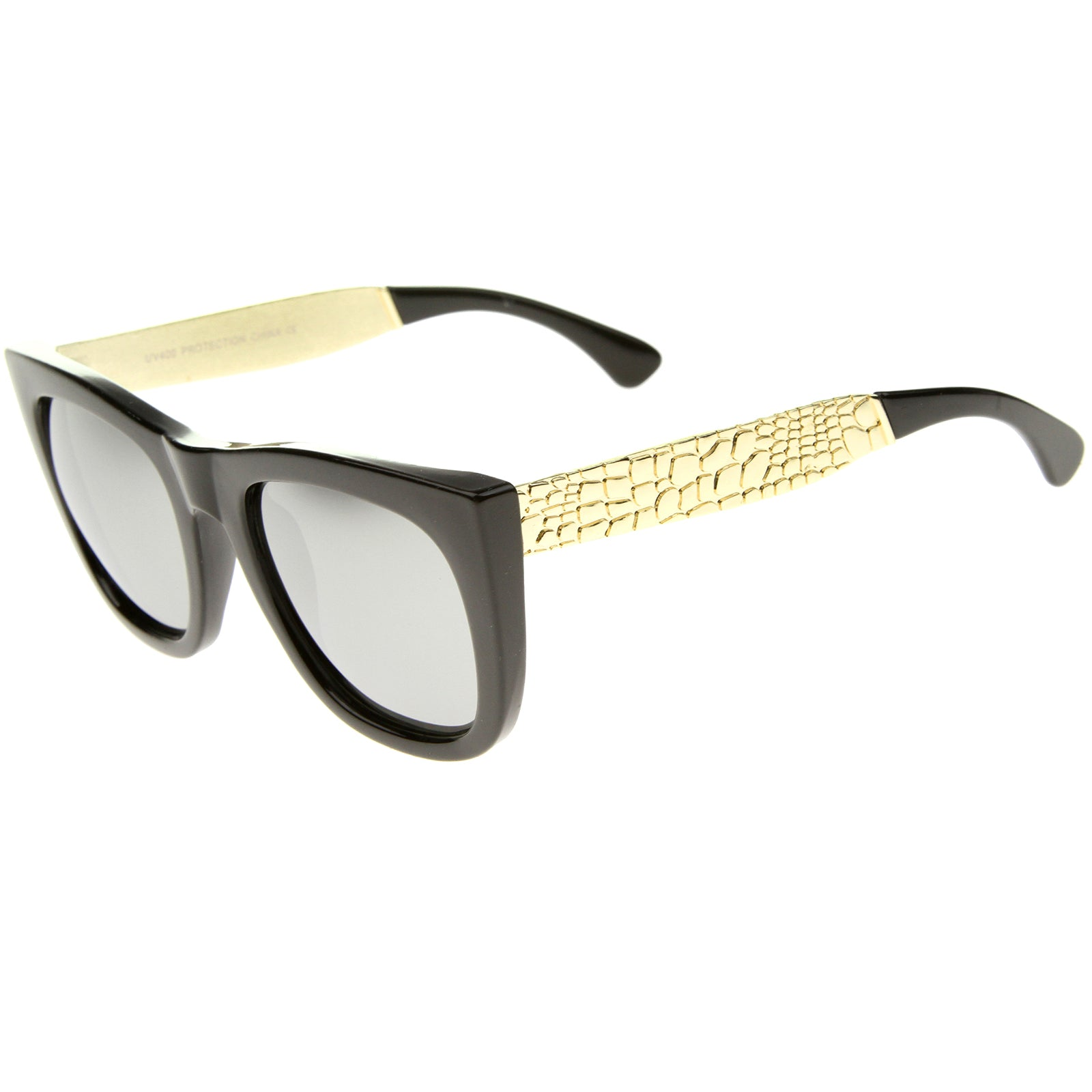 High Fashion Alligator Metal Temple Mirrored Lens Flat Top Sunglasses - sunglass.la - 3