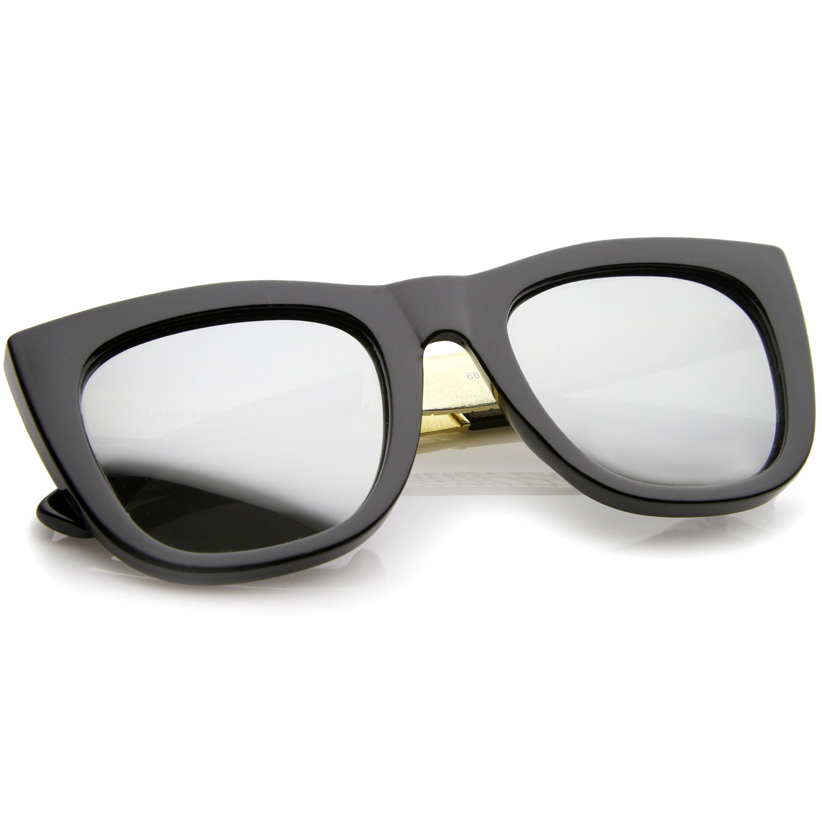 High Fashion Alligator Metal Temple Mirrored Lens Flat Top Sunglasses - sunglass.la - 4