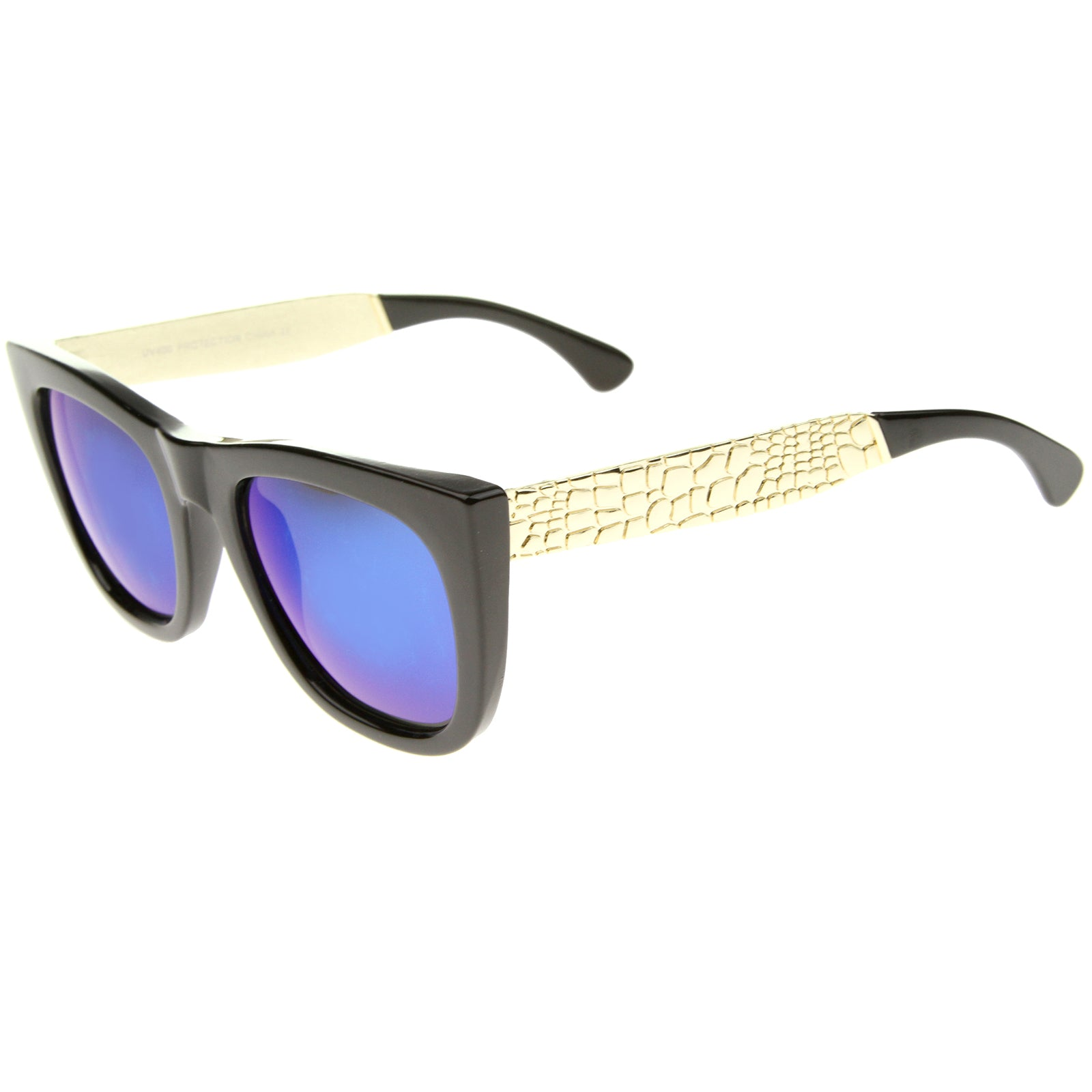 High Fashion Alligator Metal Temple Mirrored Lens Flat Top Sunglasses - sunglass.la