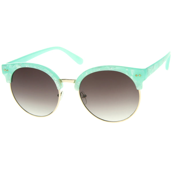 Womens Half-Frame Marble Finish Moon Cut Flat Lens Round Sunglasses - sunglass.la - 1