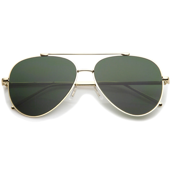 Classic Large Teardrop Crossbar Flat Lens Aviator Sunglasses 60mm - sunglass.la