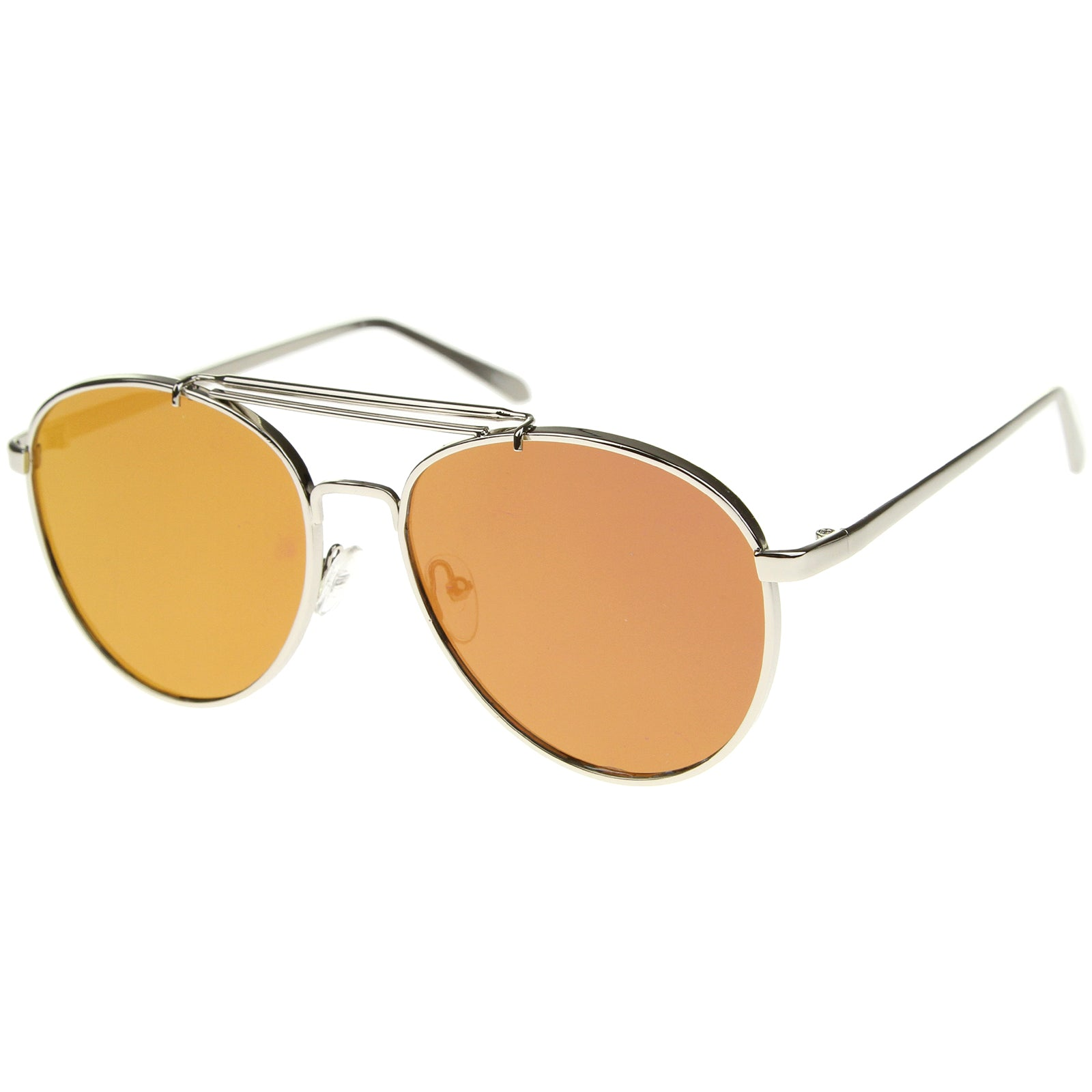 Large Metal Teardrop Double Bridge Mirrored Flat Lens Aviator Sunglasses 60mm - sunglass.la - 2