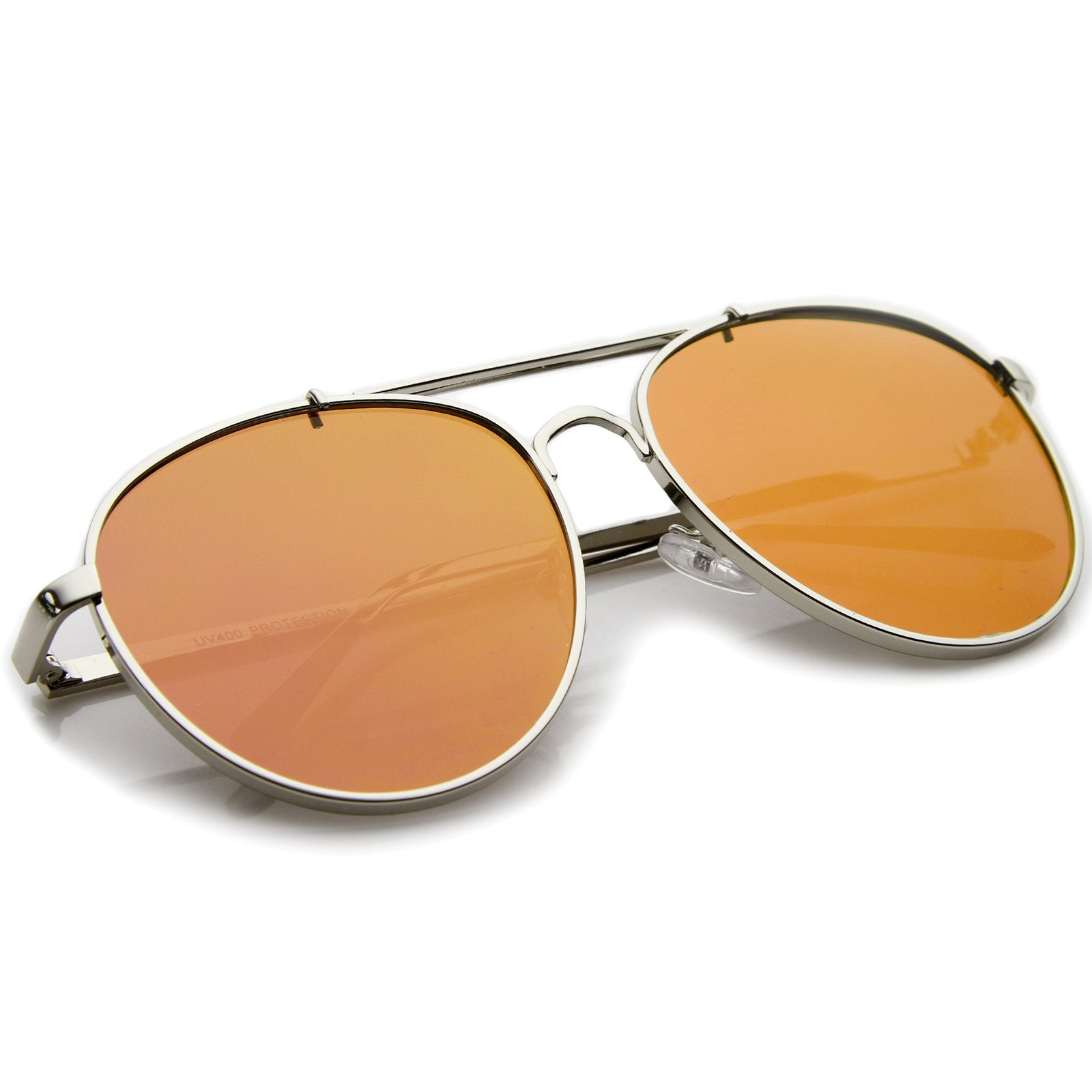 Large Metal Teardrop Double Bridge Mirrored Flat Lens Aviator Sunglasses 60mm - sunglass.la - 4