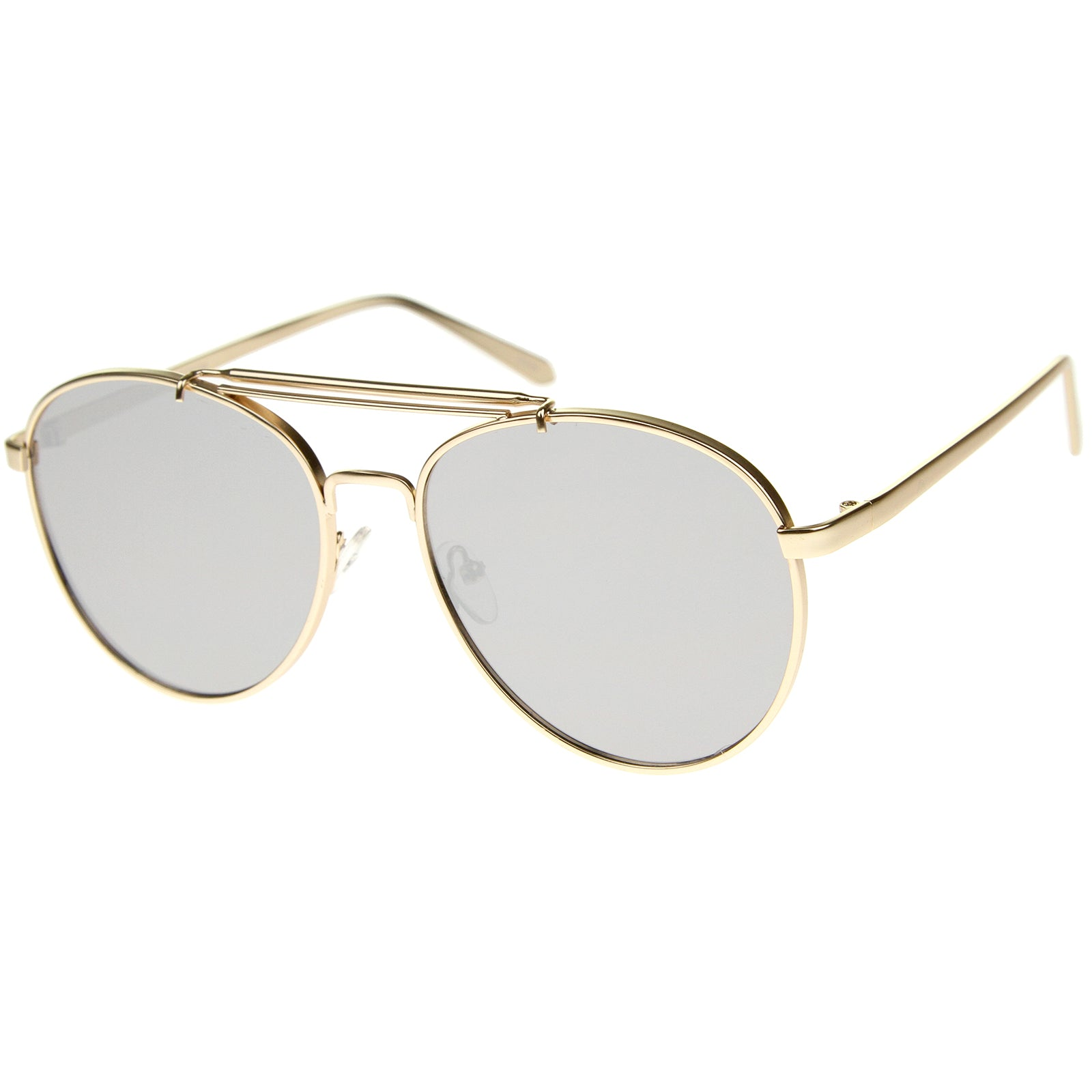 Large Metal Teardrop Double Bridge Mirrored Flat Lens Aviator Sunglasses 60mm - sunglass.la - 6