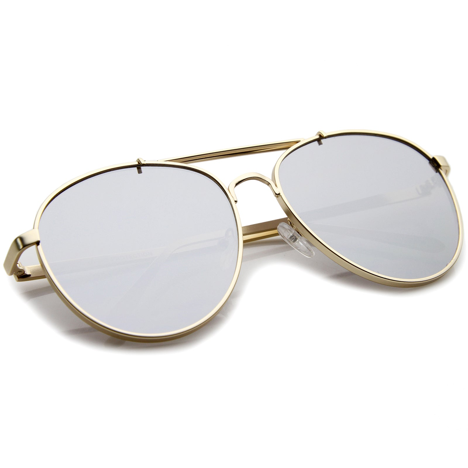 Large Metal Teardrop Double Bridge Mirrored Flat Lens Aviator Sunglasses 60mm - sunglass.la - 8