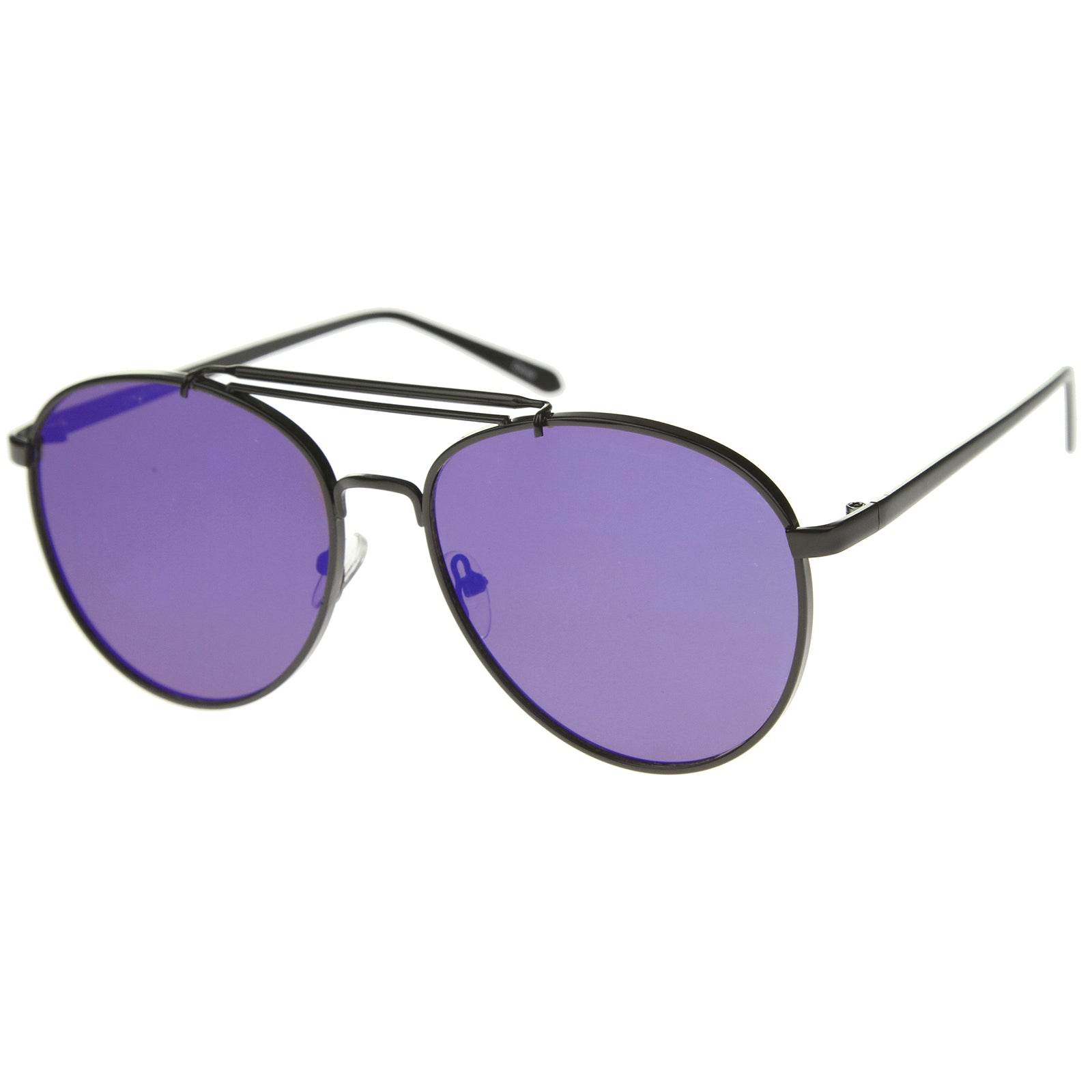 Large Metal Teardrop Double Bridge Mirrored Flat Lens Aviator Sunglasses 60mm - sunglass.la - 10