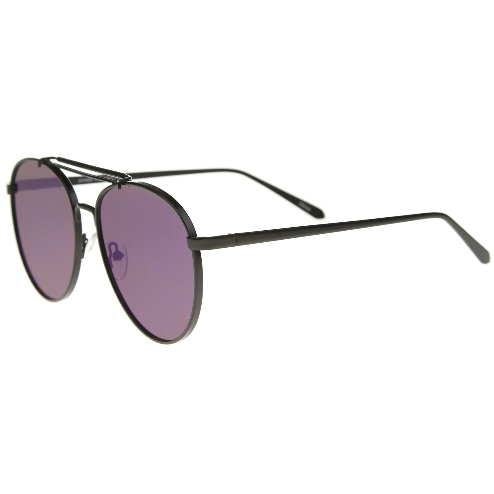 Large Metal Teardrop Double Bridge Mirrored Flat Lens Aviator Sunglasses 60mm - sunglass.la - 11