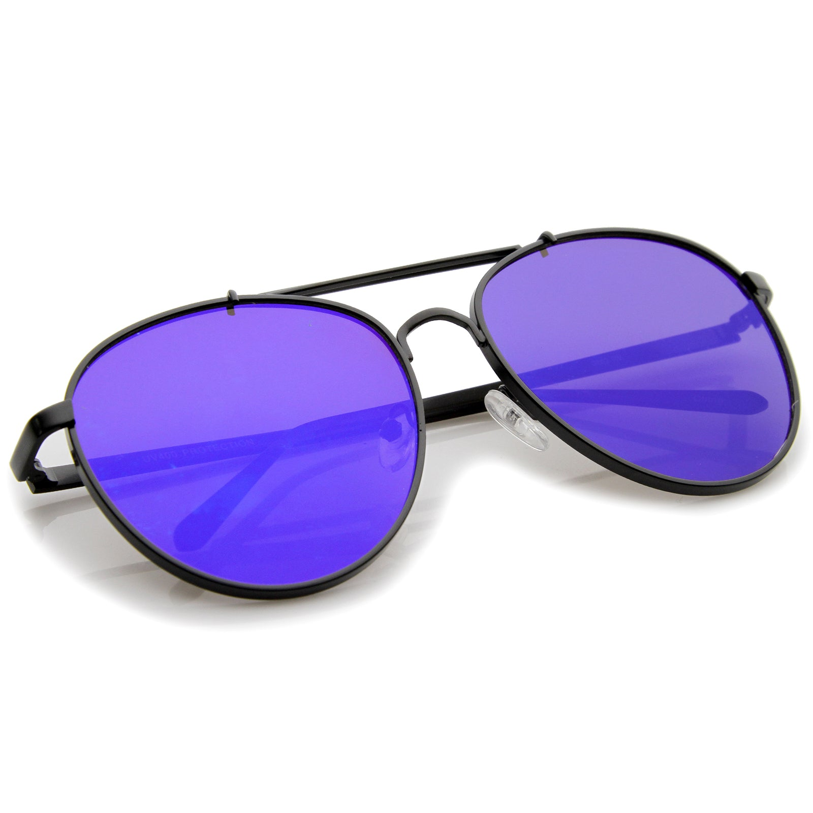 Large Metal Teardrop Double Bridge Mirrored Flat Lens Aviator Sunglasses 60mm - sunglass.la - 12