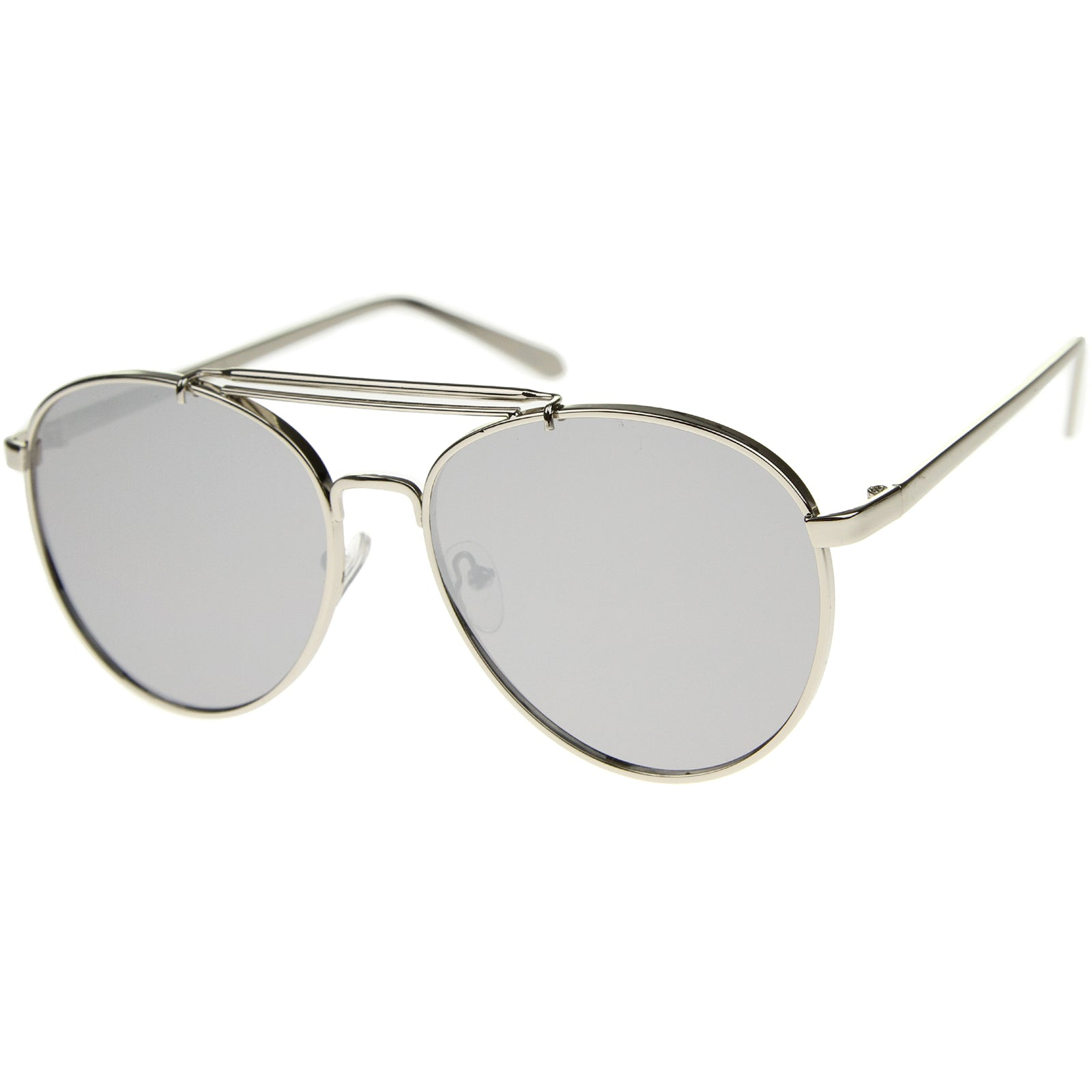 Large Metal Teardrop Double Bridge Mirrored Flat Lens Aviator Sunglasses 60mm - sunglass.la - 14
