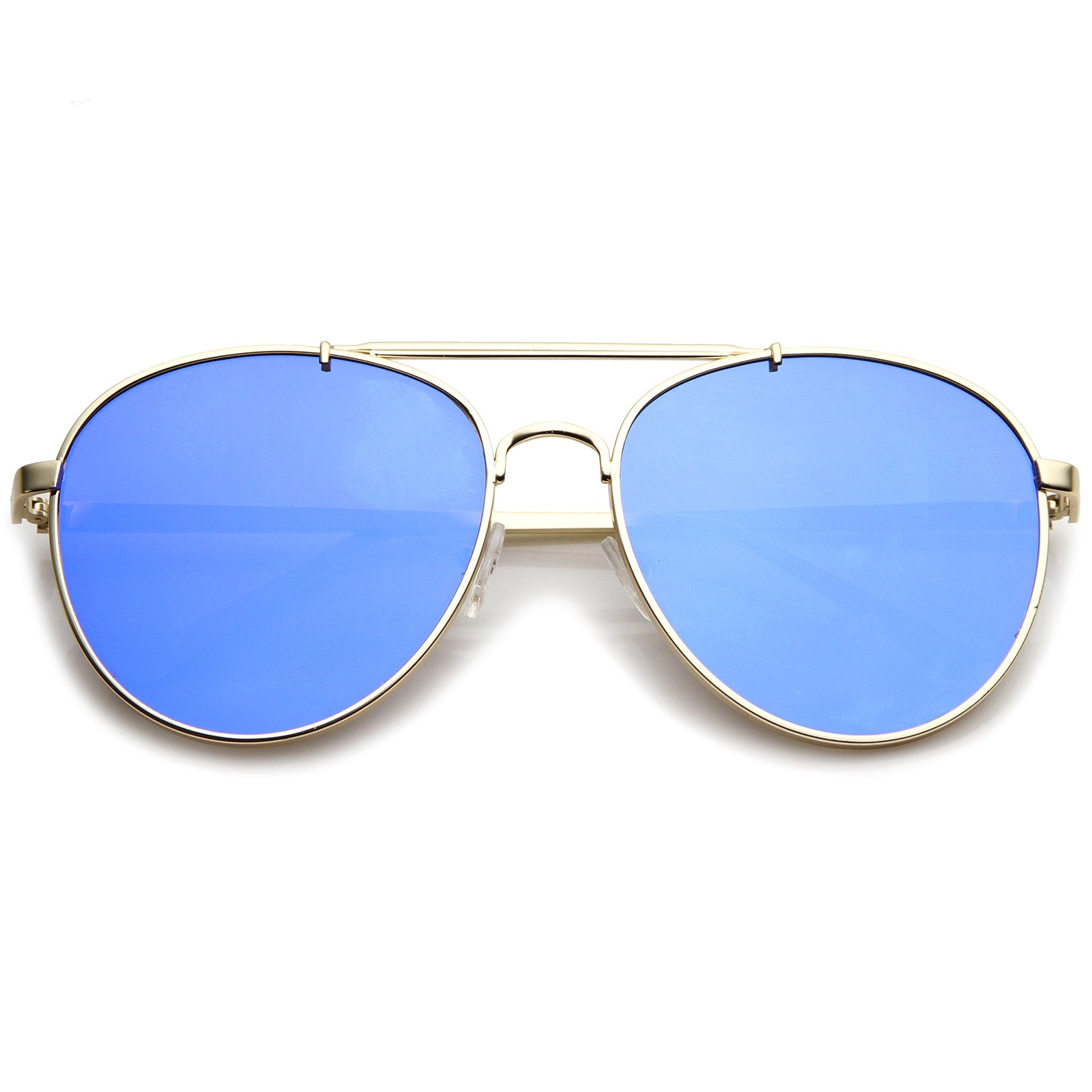 Large Metal Teardrop Double Bridge Mirrored Flat Lens Aviator Sunglasses 60mm - sunglass.la - 17