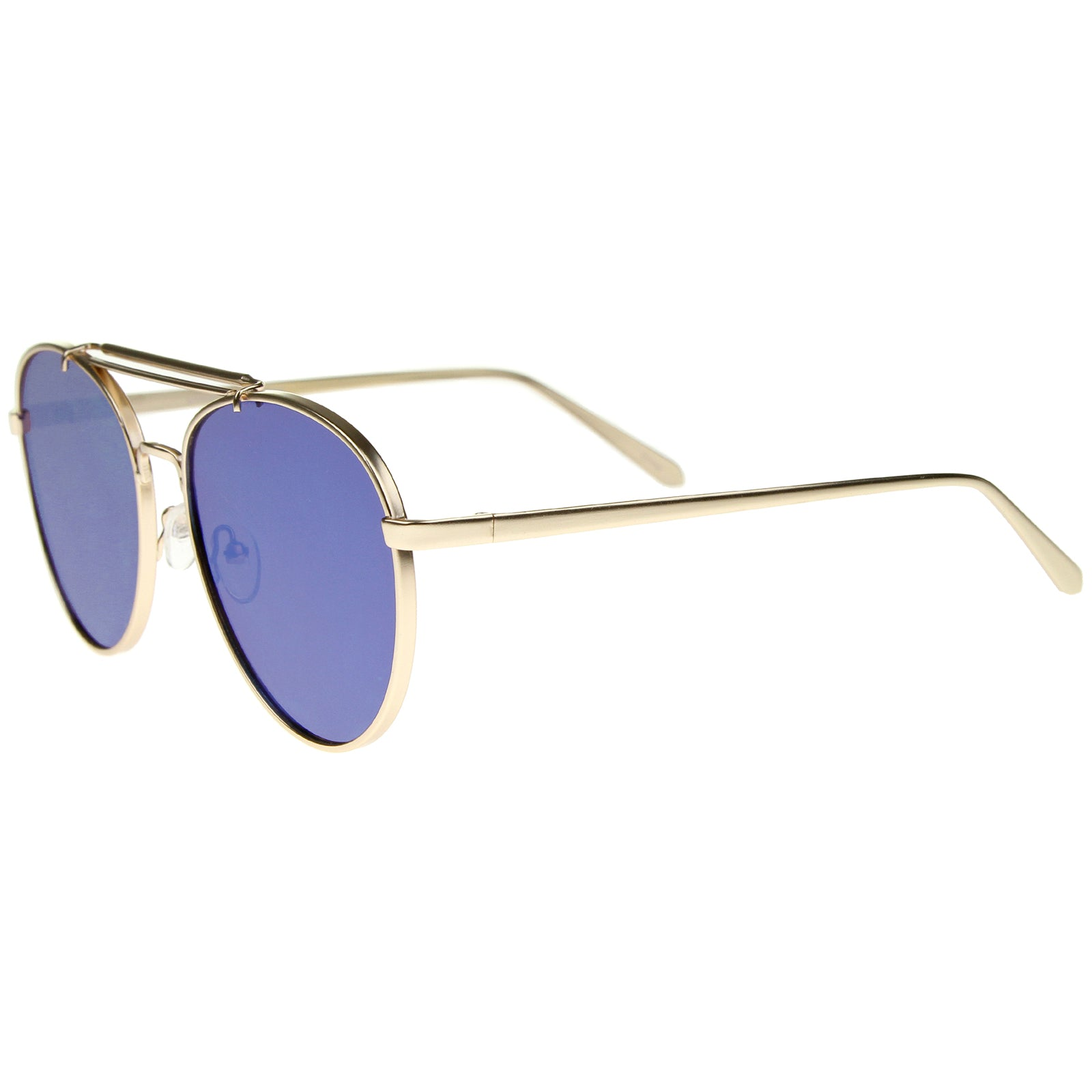 Large Metal Teardrop Double Bridge Mirrored Flat Lens Aviator Sunglasses 60mm - sunglass.la - 19