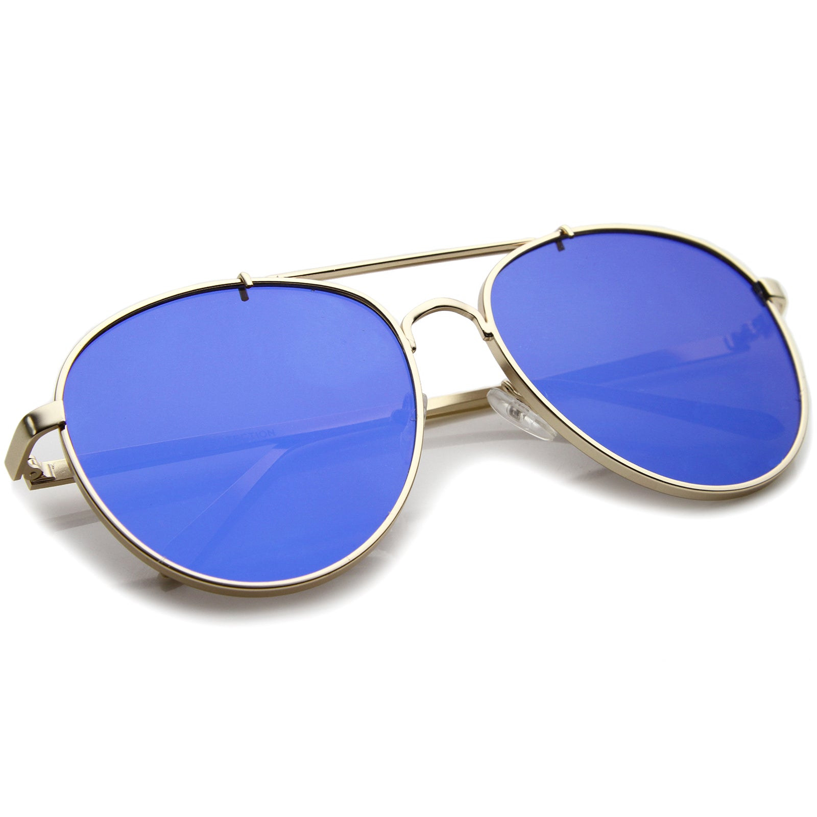 Large Metal Teardrop Double Bridge Mirrored Flat Lens Aviator Sunglasses 60mm - sunglass.la - 20