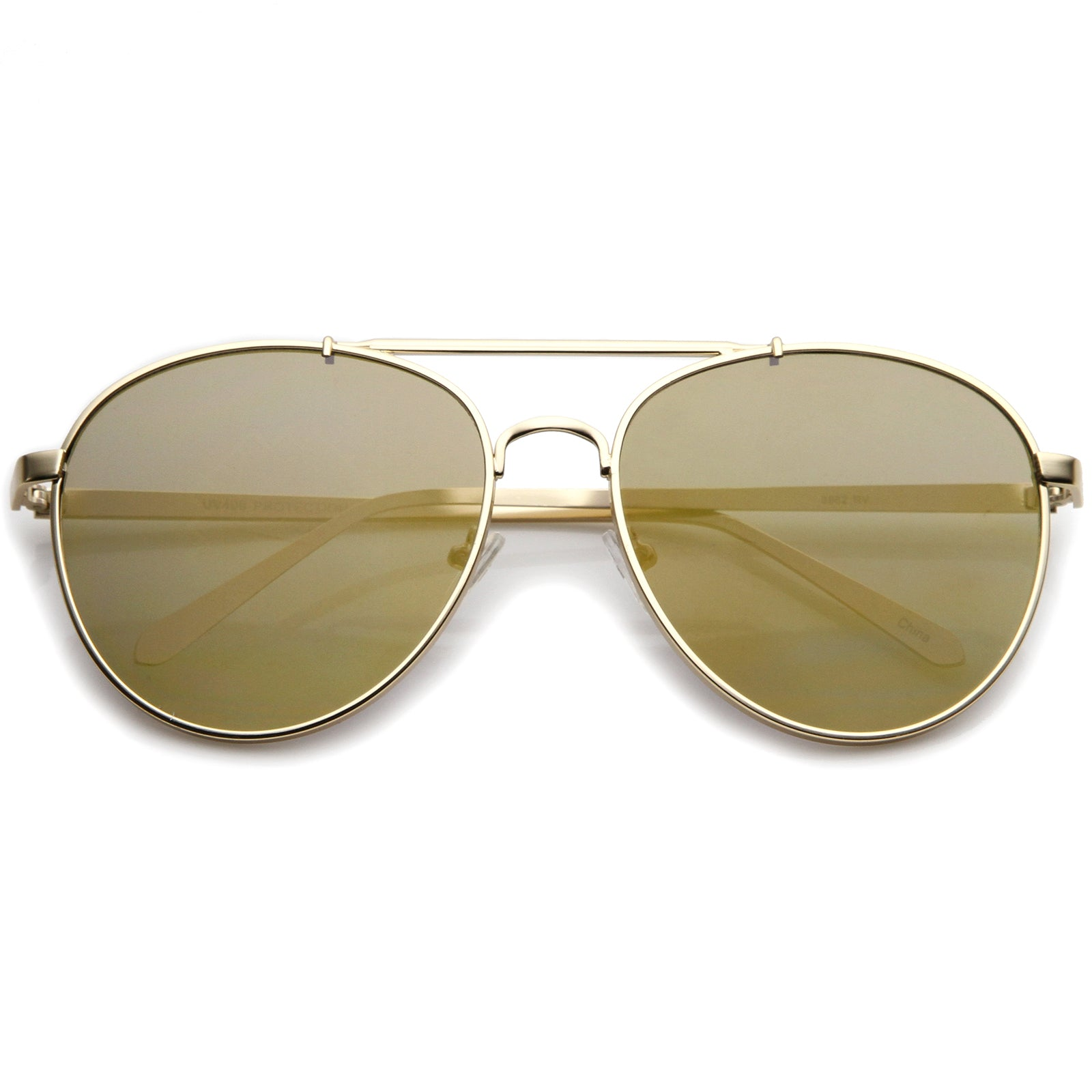 Large Metal Teardrop Double Bridge Mirrored Flat Lens Aviator Sunglasses 60mm - sunglass.la - 21