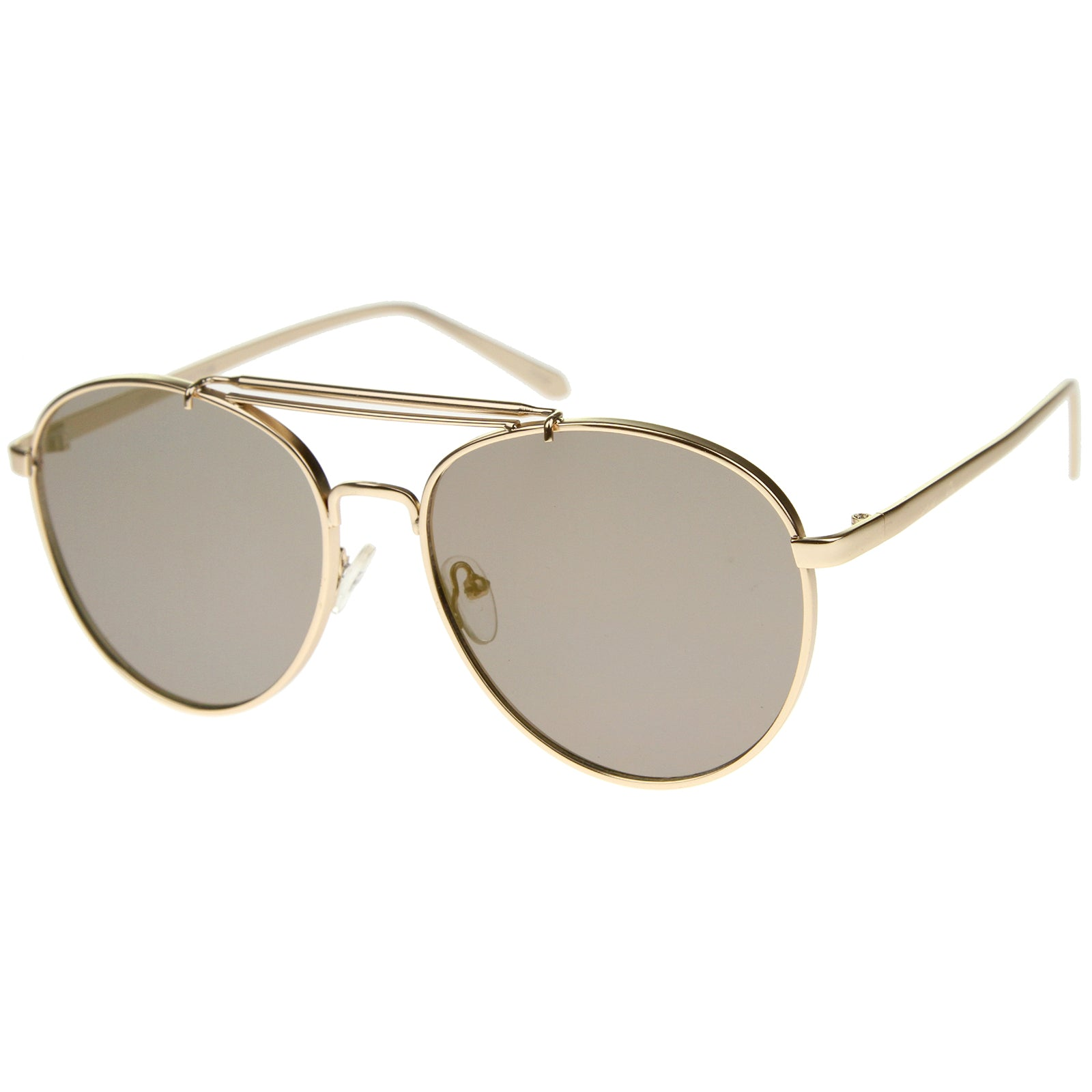 Large Metal Teardrop Double Bridge Mirrored Flat Lens Aviator Sunglasses 60mm - sunglass.la - 22