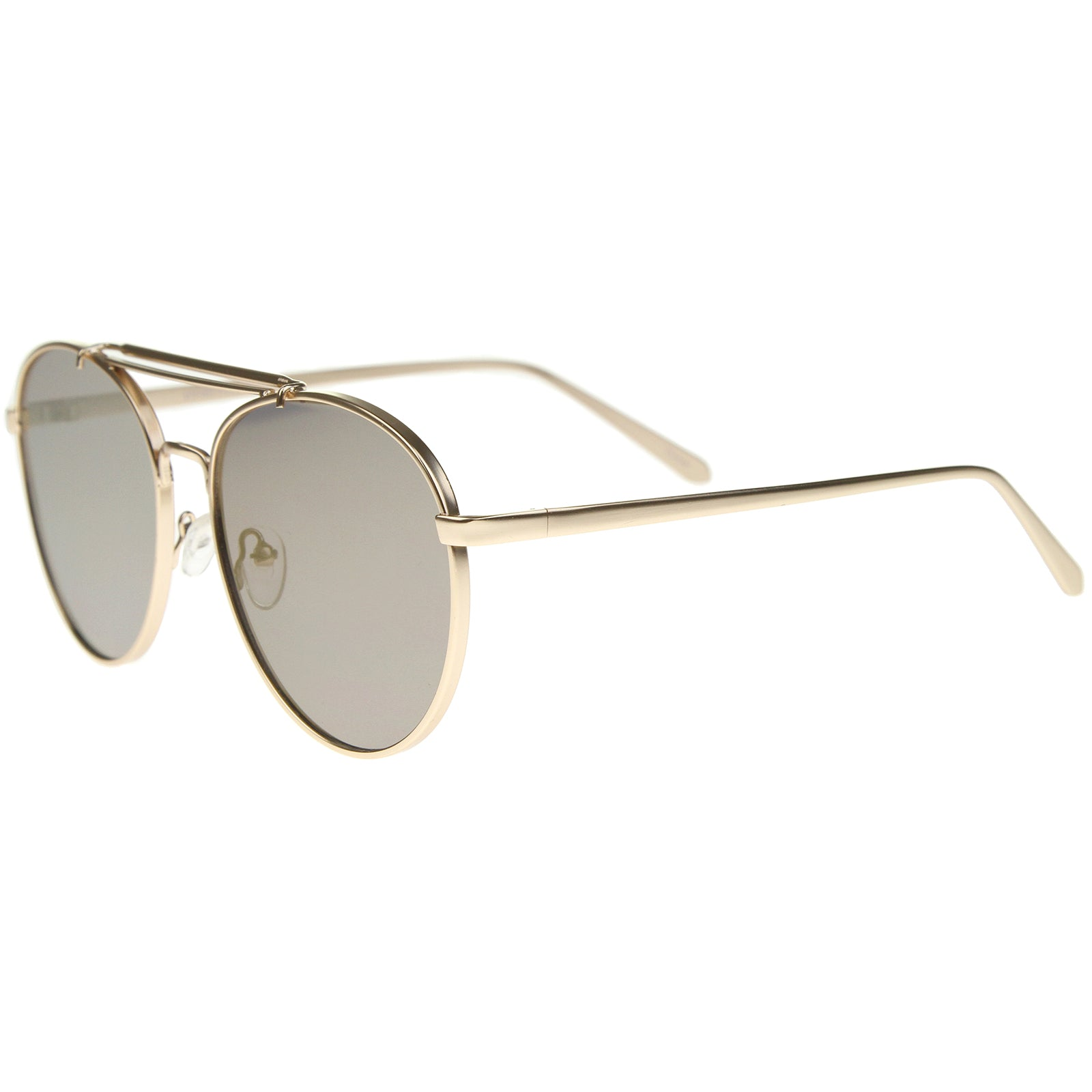 Large Metal Teardrop Double Bridge Mirrored Flat Lens Aviator Sunglasses 60mm - sunglass.la - 23