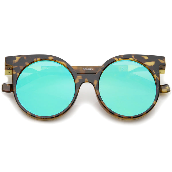 Modern Horn Rimmed Color Mirrored Flat Lens Round Sunglasses 50mm - sunglass.la - 1