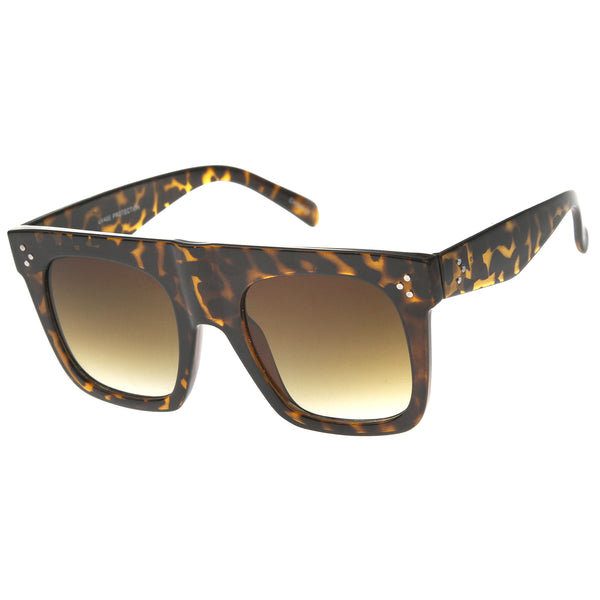 Modern Fashion Bold Flat Top Square Horn Rimmed Sunglasses 50mm - sunglass.la - 1