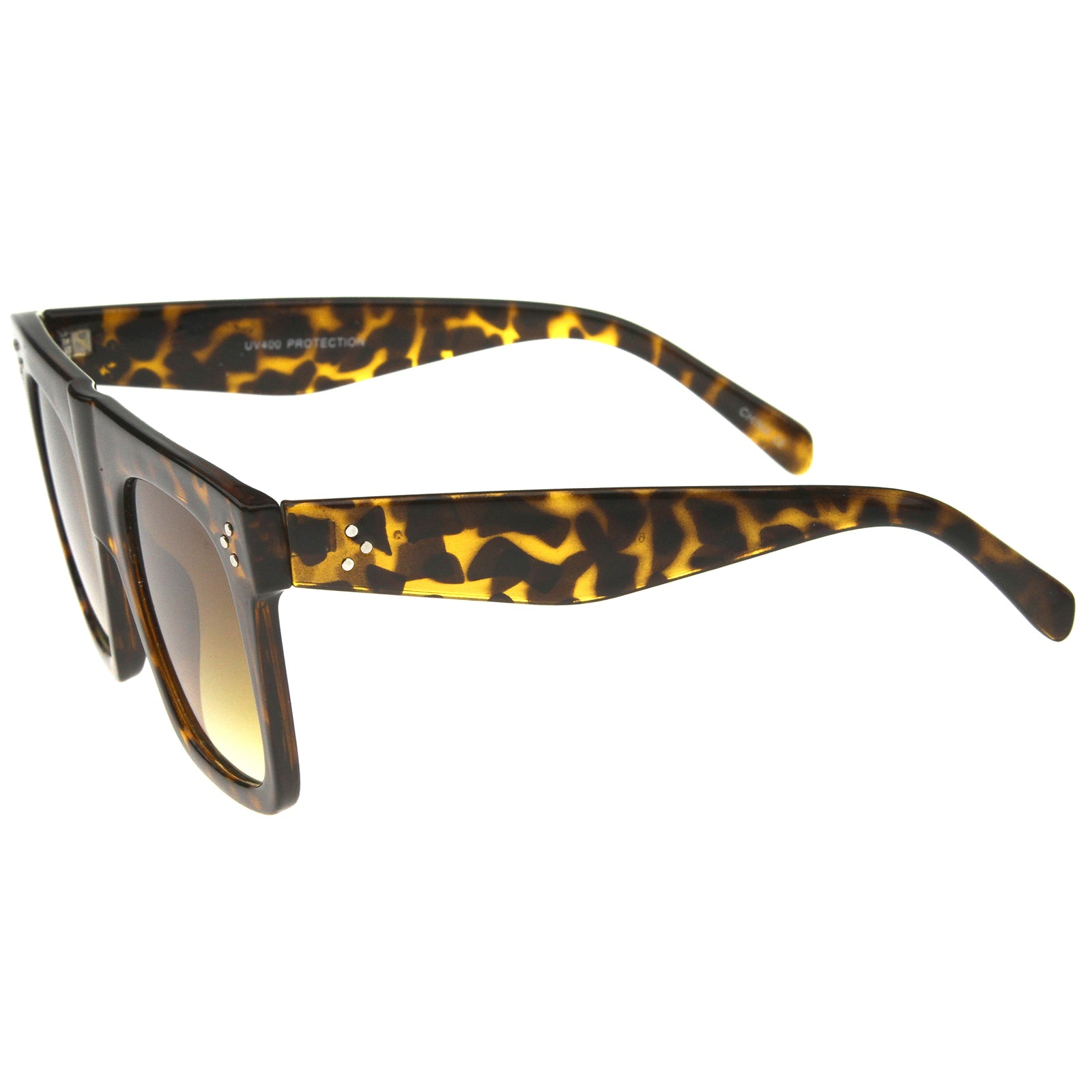 Modern Fashion Bold Flat Top Square Horn Rimmed Sunglasses 50mm - sunglass.la - 3