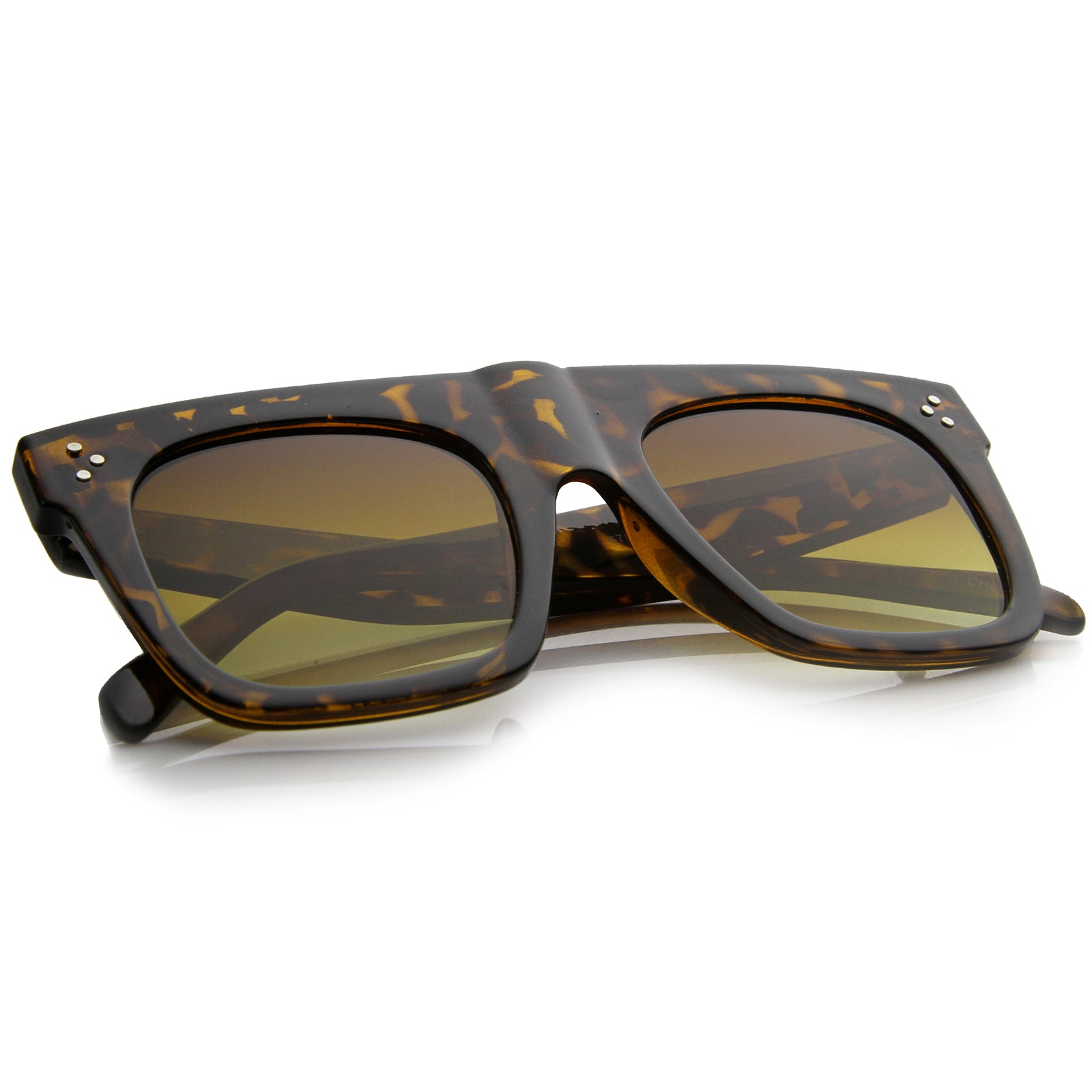 Modern Fashion Bold Flat Top Square Horn Rimmed Sunglasses 50mm - sunglass.la - 4