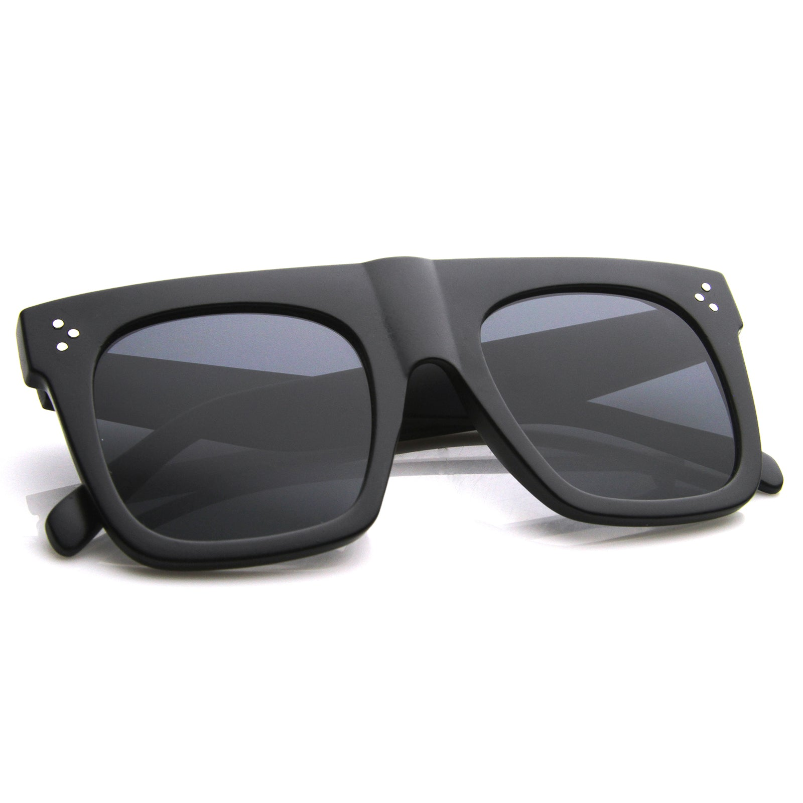 Modern Fashion Bold Flat Top Square Horn Rimmed Sunglasses 50mm - sunglass.la - 8