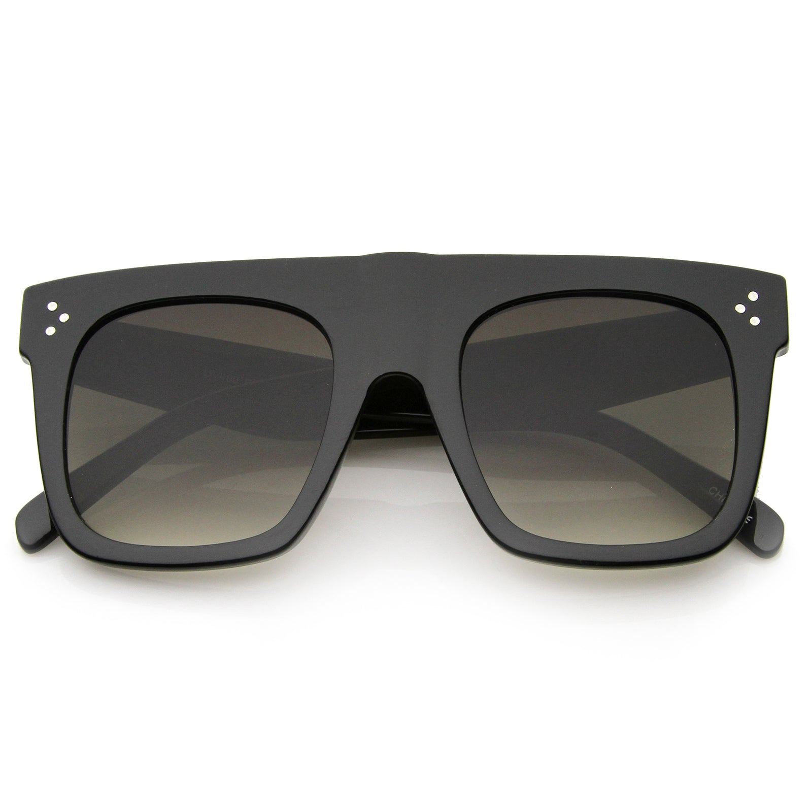 Modern Fashion Bold Flat Top Square Horn Rimmed Sunglasses 50mm - sunglass.la - 9