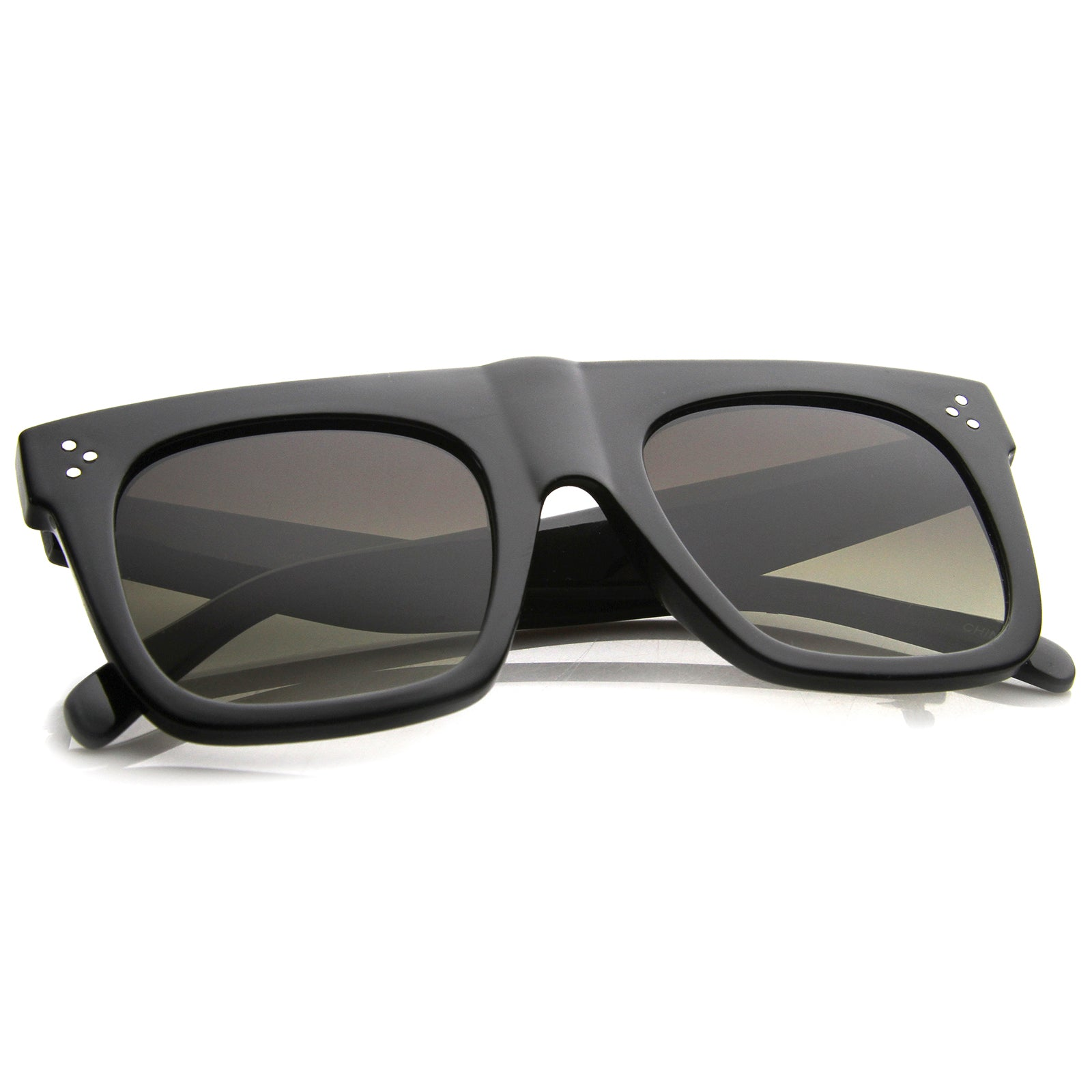 Modern Fashion Bold Flat Top Square Horn Rimmed Sunglasses 50mm - sunglass.la - 12